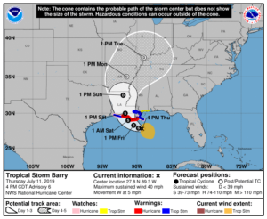 Tropical Storm Barry Path